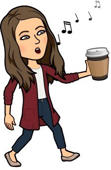 Cartoon image of Becca Stephens whistling and holding a cup of coffee
