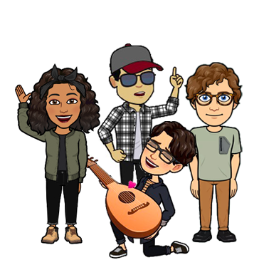 Cartoon image of four people standing in a group