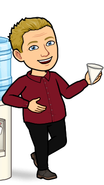 Andrew Lane as a cartoon image leaning on a water cooler